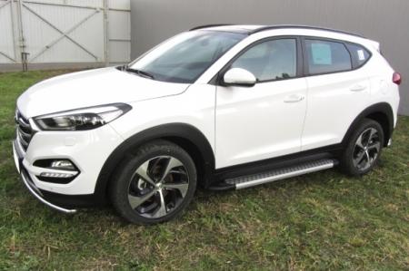 "Hyundai TUCSON 2015-4WD-Пороги алюминиевые ""Standart Silver"" 1700 серебристые"